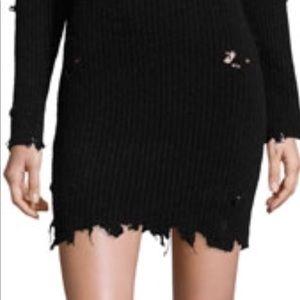 Yeezy style Destroyed hem knit skirt